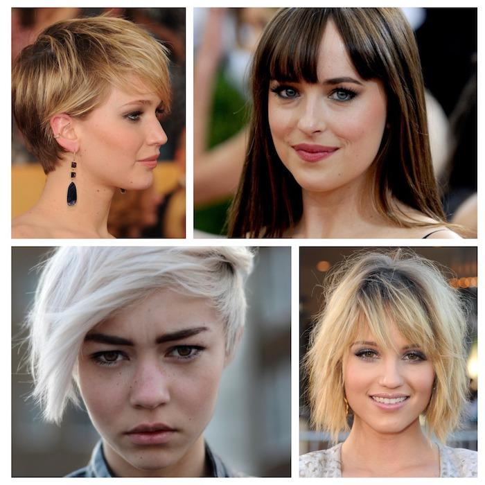exemples de frange effilée femme pour cheveux mi ling, longs et courtes, idées originales de coiffure femme moderne