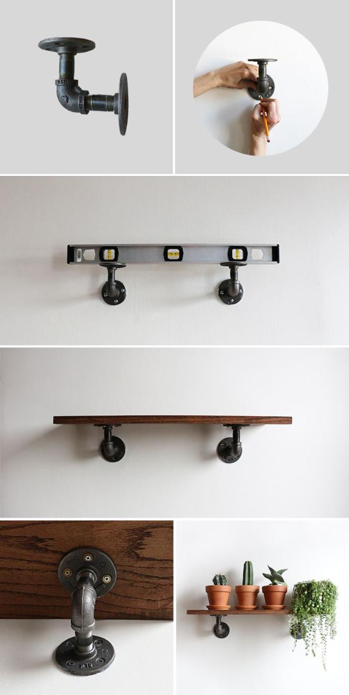 tuto facile pour réaliser une étagère murale en bois et tuyaux idéale pour la salle de bain industrielle