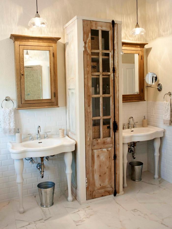idée pour fabriquer une meuble salle de bain originale façon une colonne de rangement en bois vintage