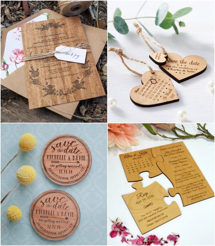 le design naturel du faire part de mariage ne bois gravé ou de la carte save the date ravira les amoureux de la nature