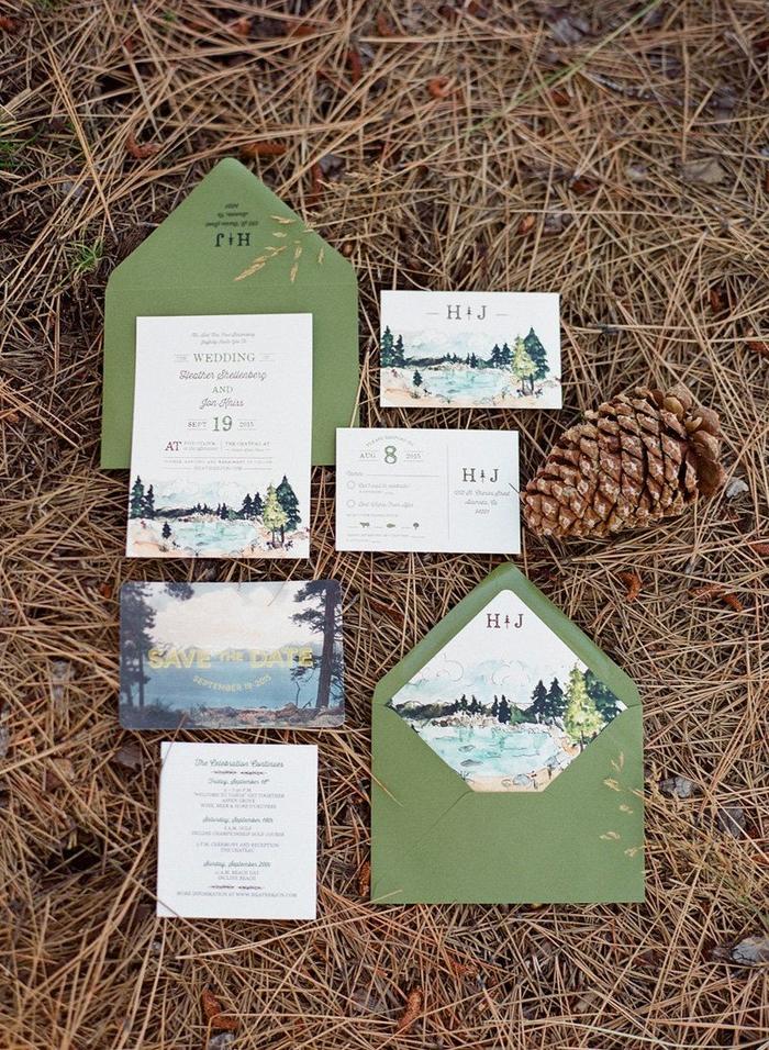 design original et authentique d'un faire part mariage nature personnalisé avec un paysage aquarelle