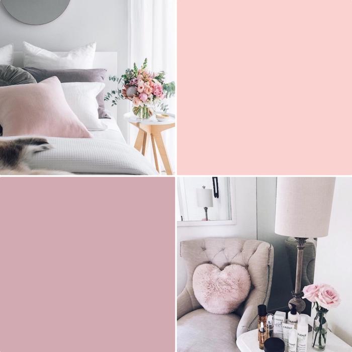 décoration de chambre gris et blanc, pièce aux murs blancs avec miroir ovale et grand lit couvert de coussins décoratifs