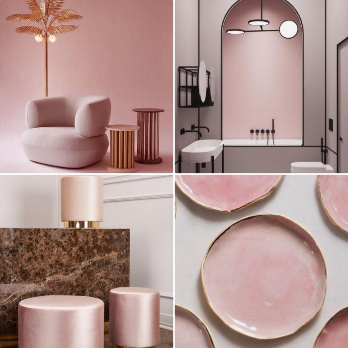 fauteuil rose poudré avec lampe à design palmier à intégrer dans chambre rose poudré, déco salle de bain rose et noir mate