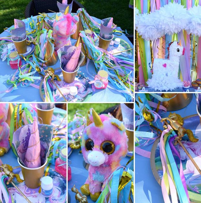 joli gadget licorne en peluche qui s assortit parfaitment avec la déco de table féerique et enfantine en rose et violet