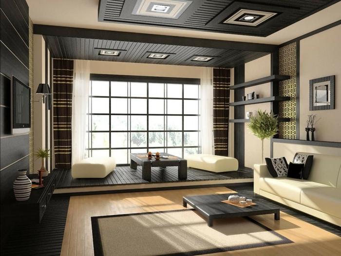 feng shui salon, deco salon zen, deco epuree, deco ethnique, amenagement salon en style japonais, en noir et blanc, appliques au plafond accentuées avec des carrés en noir et blanc, sol revêtu de parquet en bois clair