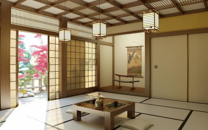couleur zen, deco salon zen, carrelage en couleur ivoire, trois luminaires en style asiatique, table carrée en bois clair, portes coulissantes en style asiatique, intérieur minimaliste