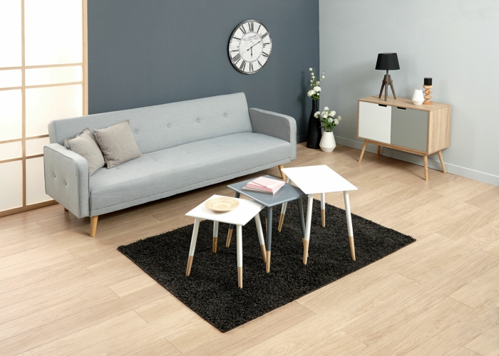 couleur zen, deco zen, mur en gris et mur en bleu pastel, parquet beige, petit tapis rectangulaire en noir, canapé en bleu pastel, portes coulissantes lumineuses en bois clair