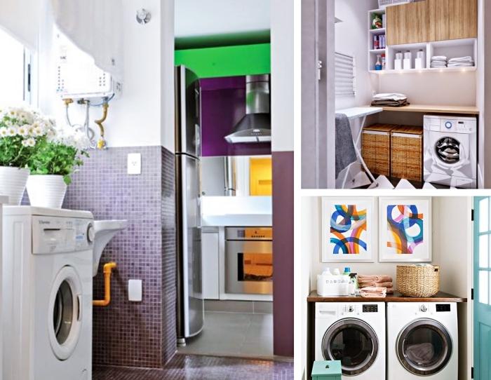 modèle d'etagere buanderie verticale avec déco en guirlande lumineuse, panier en fibre végétale pour vêtements sales ou propres