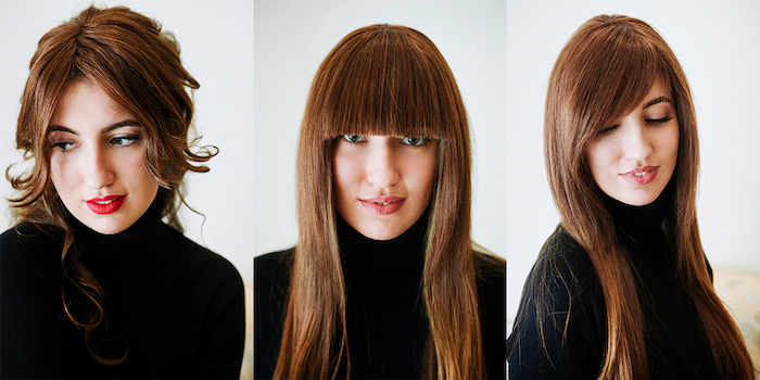 idée de différentes manières de coiffer une frange, cheveux longs, frange effilée, de coté et façon rideau