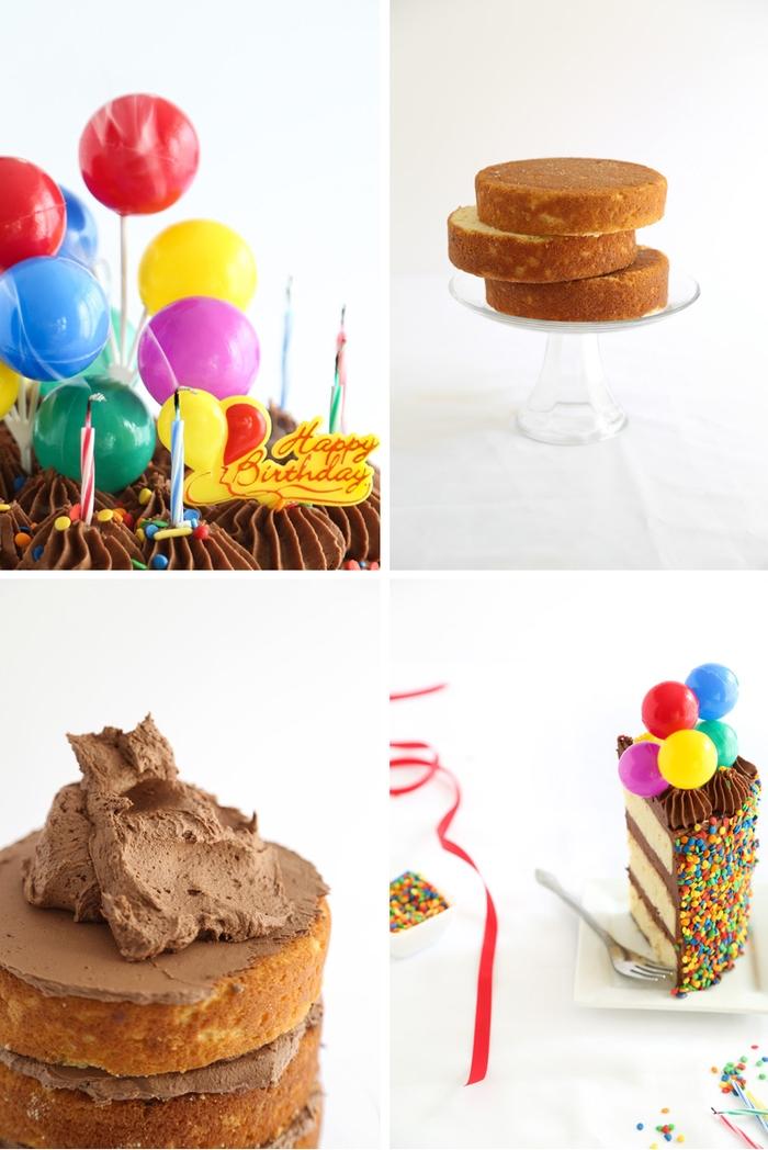 recette de gateau d'anniversaire facile au chocolat avec bougies multicolores et confettis décoré de mini-ballons