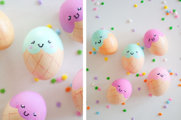 activité manuelle pour les enfants, comment colorer les oeufs en style amusant et design imitant glaces colorés