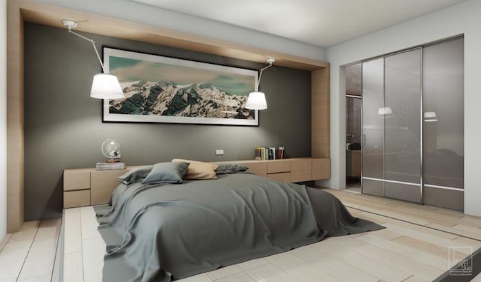 suite parentale avec estrade et salle de bain, grande chambre adulte design