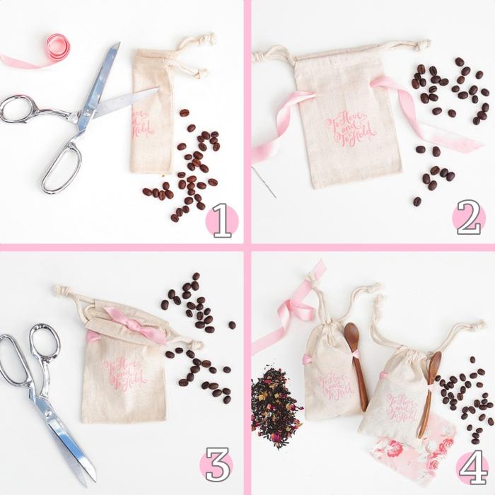 tutoriel facile pour faire un petit sac à graines de café beige au ruban rose pale, comment remplir une poche de graines café