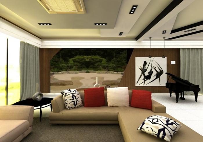 couleur zen, deco salon zen, décoration feng shui, canapé angulaire en couleur ivoire, faux plafond en blanc et gris, coussins en blanc, rouge et noir et blanc