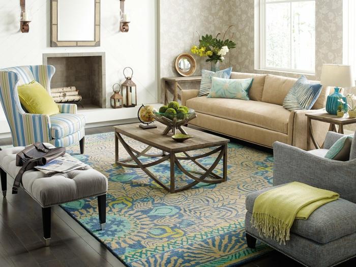 deco ethnique, deco salon zen, décoration feng shui, couleur zen, tapis aux nuances pastels, meubles en gris clair, fauteuil aux rayures bleu turquoise et jaune