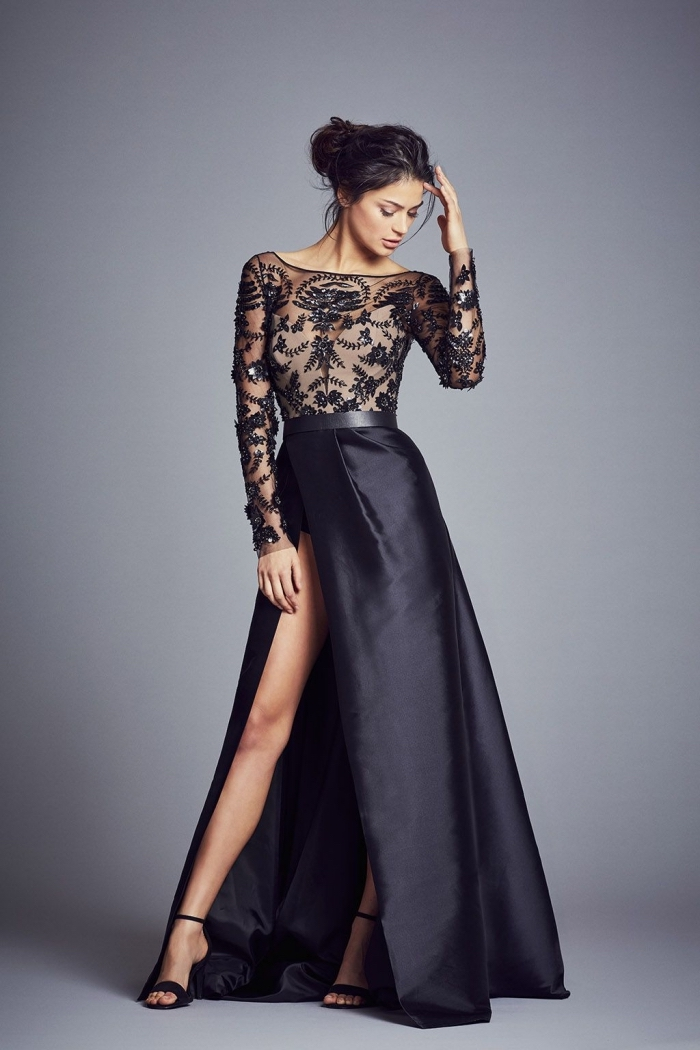 80c7e2a6644 exemple de robe de cocktail ou cérémonie longue avec haut transparent à  dentelle noire