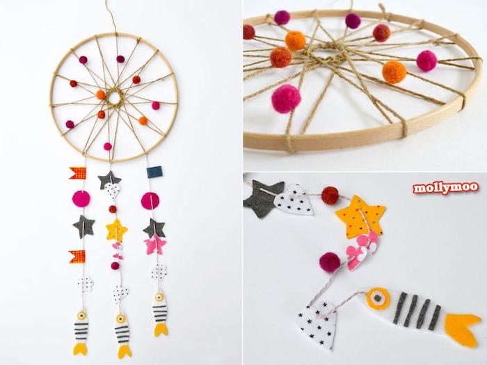 exemple d attrape reve enfant en cerceau bois, pompons colorés, petites figurines en papier colorés, décoration chambre enfant
