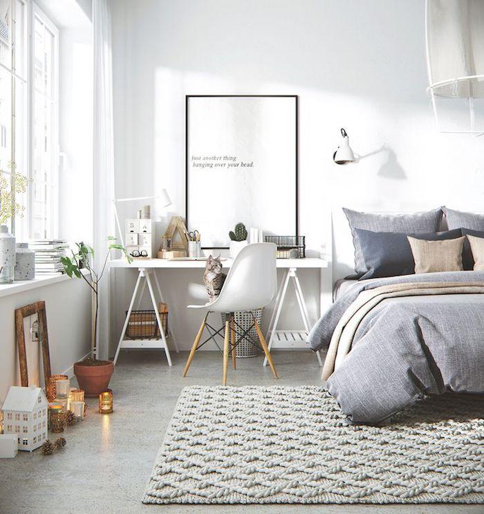 Style nordique bureau scandinave blanc meuble entree scandinave chat sur la chaise lit cosy