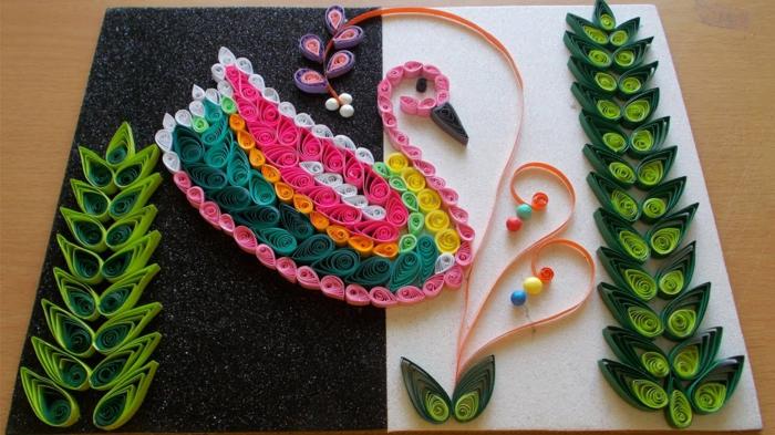 cygne multicolore et brins verts, panneau artistique à faire soi-même, loisirs créatifs