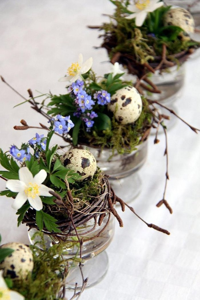 Activité paques deco de paques decoration paques facile diy vase en verre avec oeufs et vert