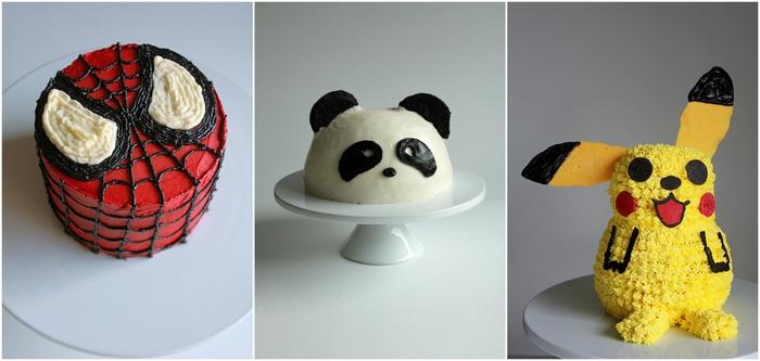 trois idées pour une décoration de gateau anniversaire facile inspirée des personnages favoris des enfants