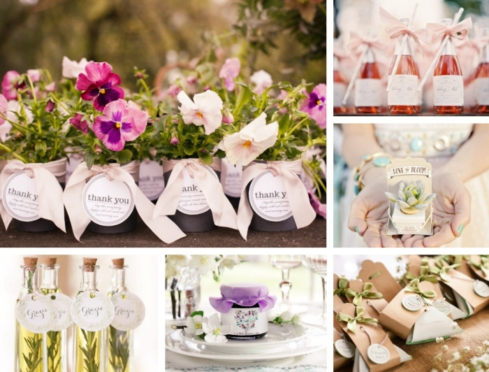 bouteille ou gobelet personnalisé mariage, bocal de confiture fait maison avec étiquette personnalisée, bouteille de jus de fruits avec ruban rose