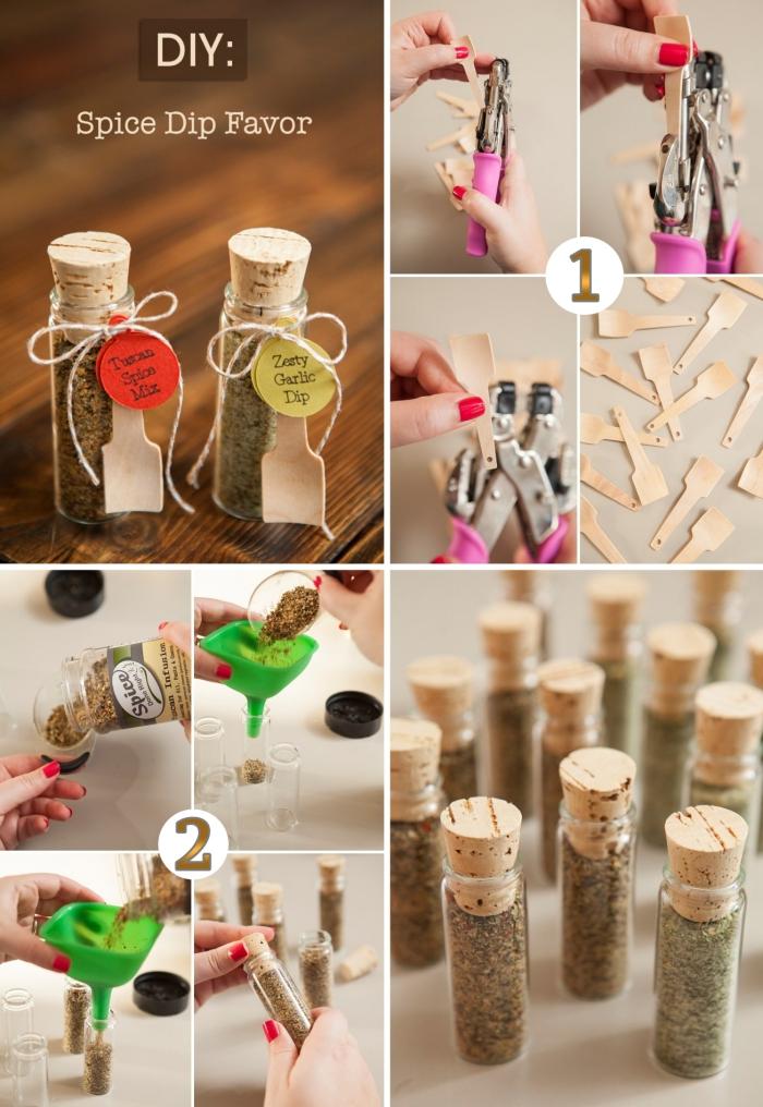 tutoriel avec les étapes à suivre pour fabriquer flacon d'herbes avec petite cuillère de bois et étiquette personnalisée