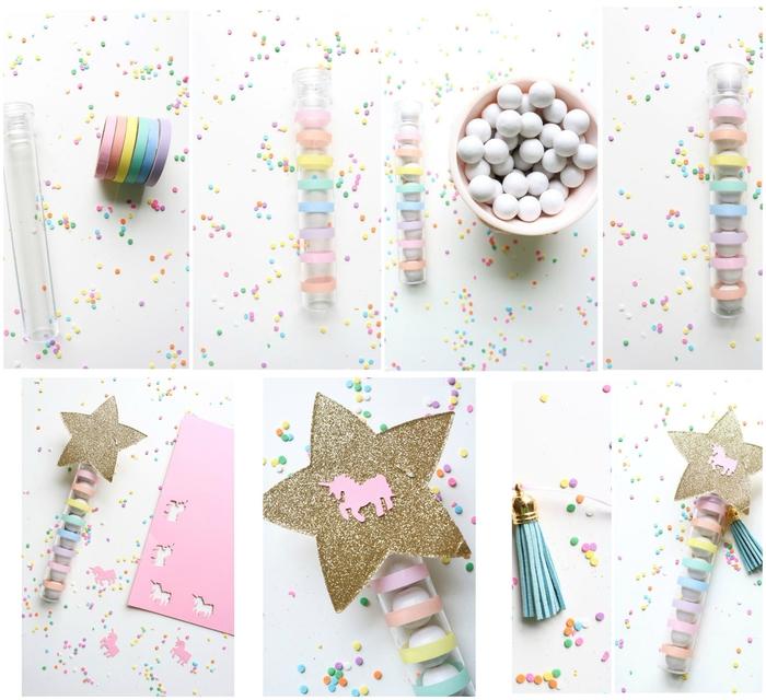idée pour un objet licorne personnalisé éprouvette à dragées qui sera un cadeau d'invités parfait pour un anniversaire à thème licorne