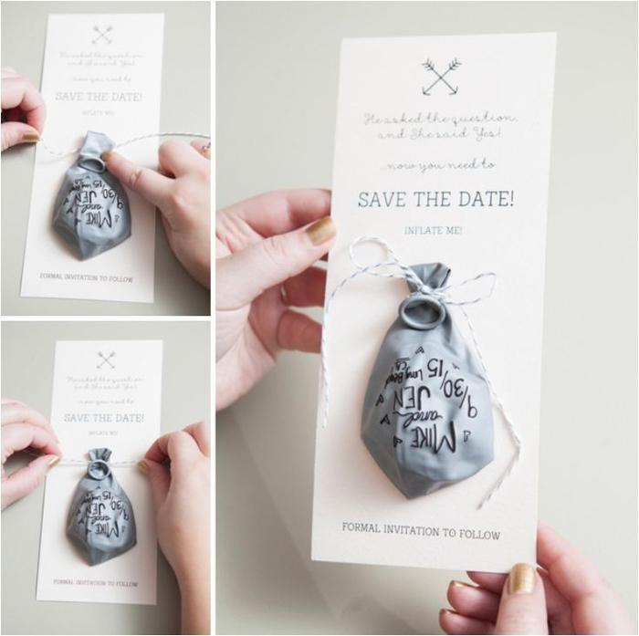 annoncez les festivités avec un faire part mariage personnalisé de type save the date accompagné d'un ballon aux inscriptions réalisées avec un marqueur