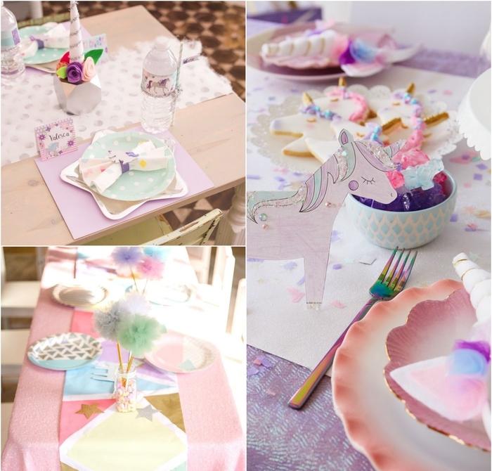trois idées de chemin de table tendance dans l esprit de la fête sur theme licorne
