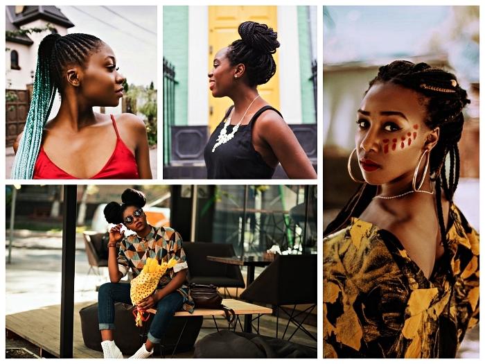 coiffures protectrices avec nattes africaines pour les cheveux naturels, tresses africaines avec rajouts et space buns afro