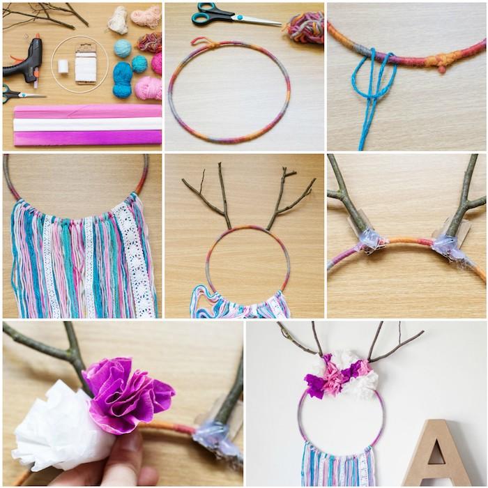 attrape reve tuto simple sans tissage, cercle enveloppé de laine, frange de laine et de dentelle, bois de cerf en branches, fleurs décoratives