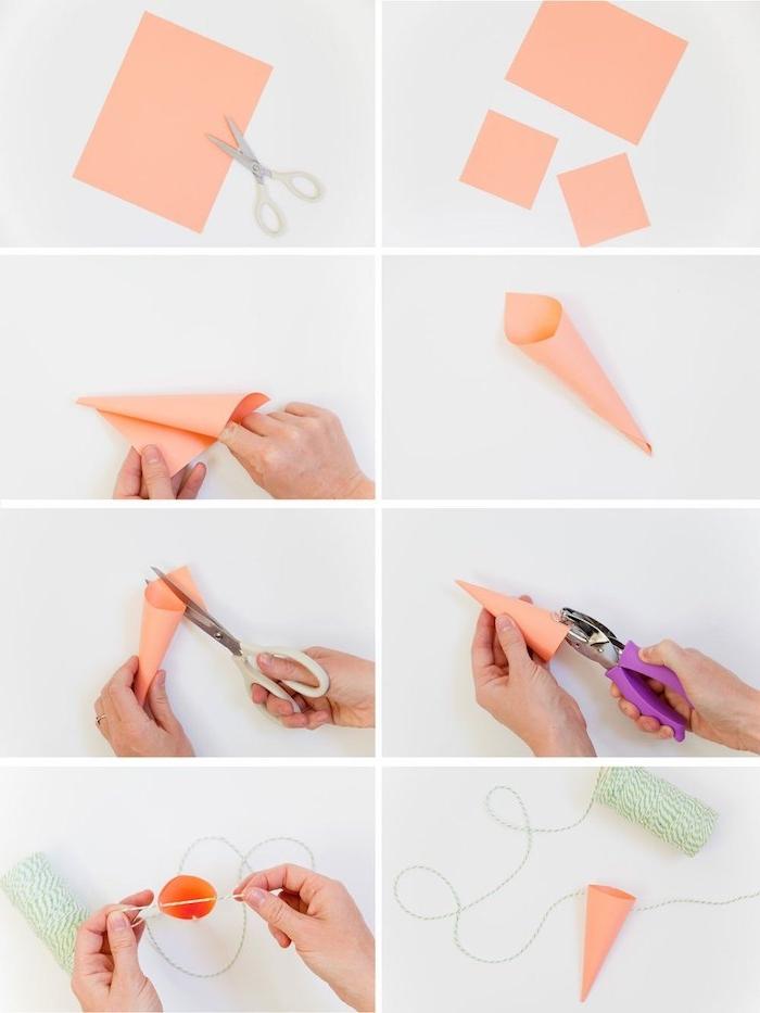 activités manuelles paques, tuto pour fabriquer une cône en papier pour réalise rune carotte pour votre guirlande de carottes