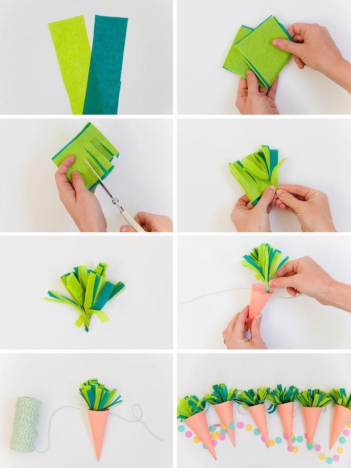 créer les feuilles des carottes en feutrine, idée d activité manuelle pour fabriquer une guirlande de carottes comme deco murale de pâques