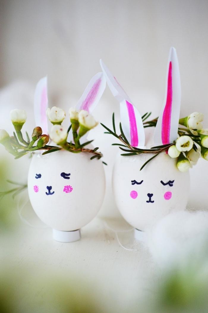 comment décorer les oeufs à coquille blanche avec papier et dessin en marqueur non toxique à design lapin de paques