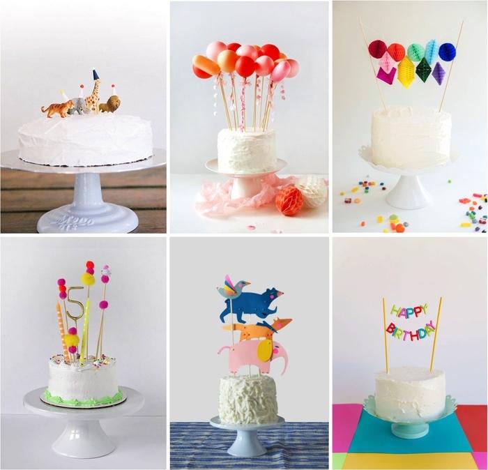 plusieurs variantes pour réaliser une déco originale de gateau d'anniversaire personnalisé avec des cake toppers originaux