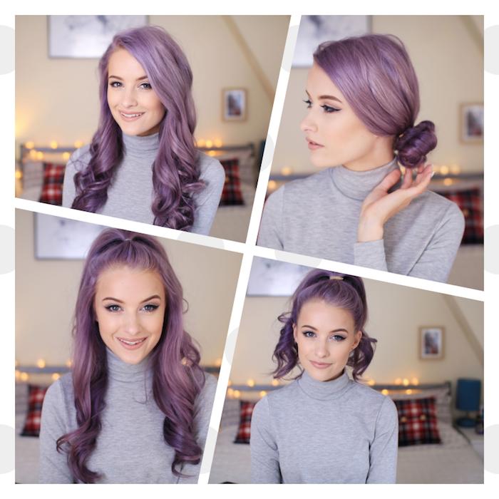 idées de coiffure cheveux bouclés, boucles romantiques pour faire une demi queue de cheval, queue de cheval haute et chignon bas, coloration violette