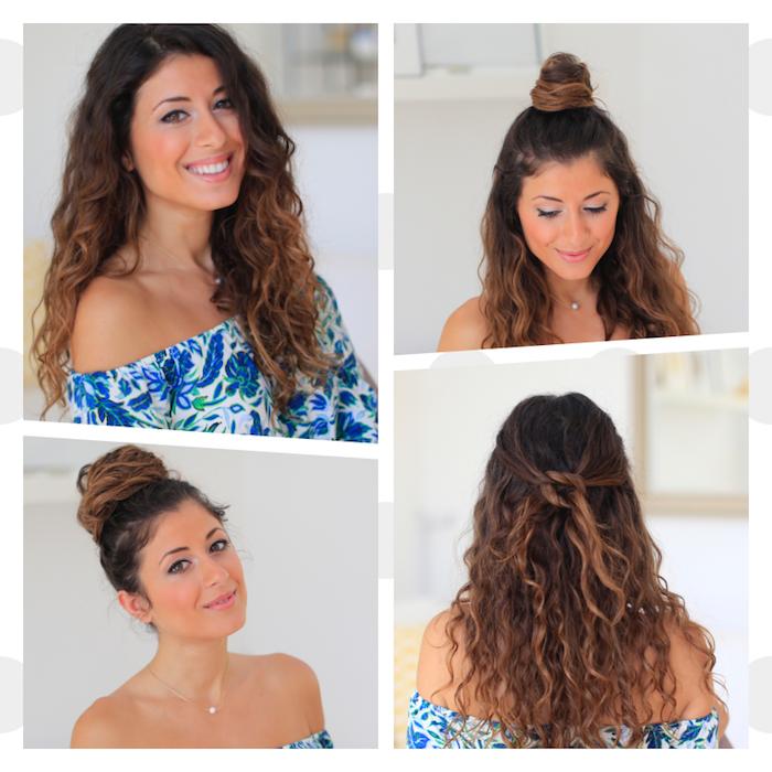 plusieurs idées de coiffure cheveux bouclés lâchés, en demi chignon, chignon bun haut et des mèches croisées en arrière de la tête