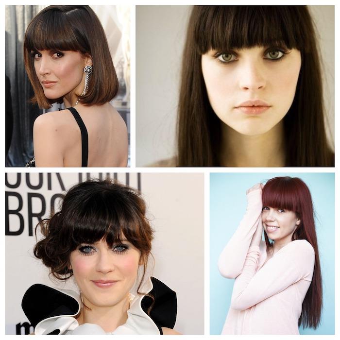 exemples comment adopter une coupe avec frange épaisse sur cheveux longs et courts, coiffures décontractées et élégantes