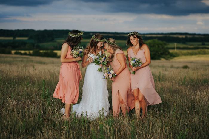 Longue robe champetre chic robe de mariée droite mariage bohème