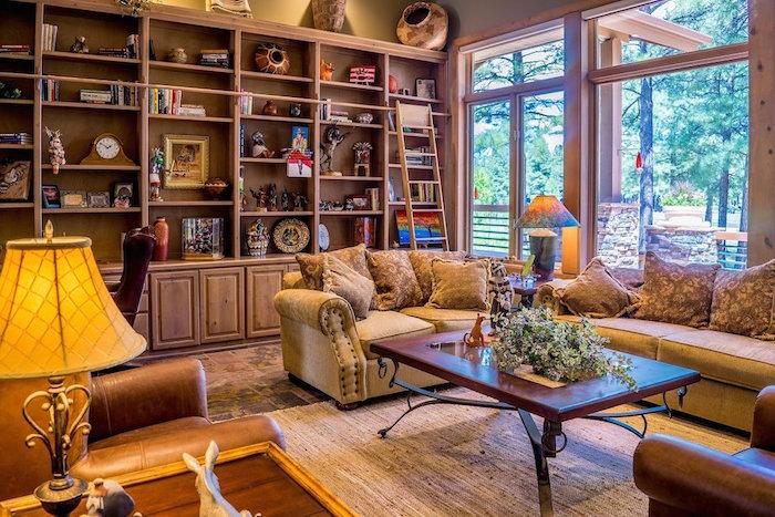deco de salon style colonial, aménagement de salon retro type boheme avec objets ethniques