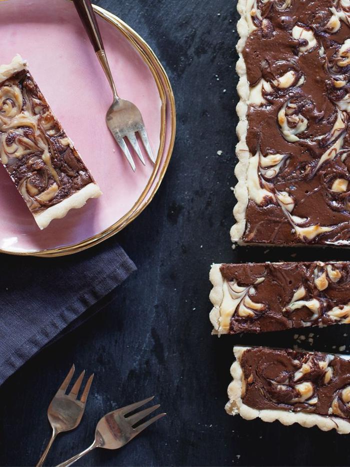 recette gateau au nutella et au mascarpone à base de pâte à tarte, dessert original deux saveurs