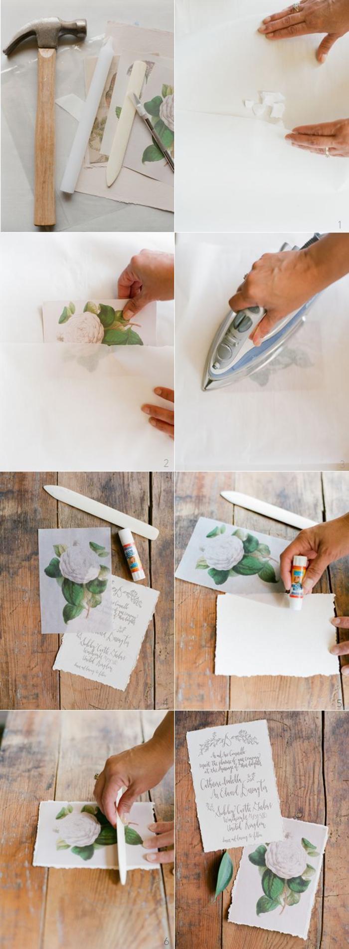 idée pour un faire part champetre à réaliser soi-même en papier ciré et au fer à repasser pour un joli rendu vintage