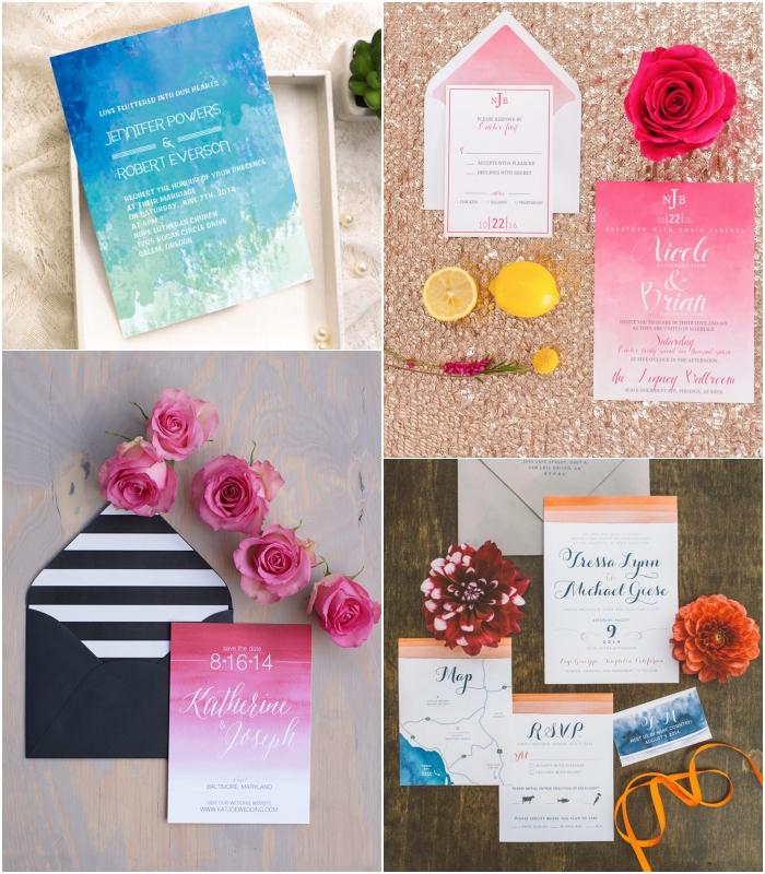 joli dégradé de couleurs associé à une belle typographie moderne pour un faire part de mariage de style contemporain qui est haut en couleur