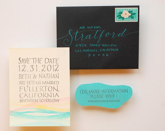 idée diy pour un faire part mariage personnalisé à l'aquarelle de type save the date