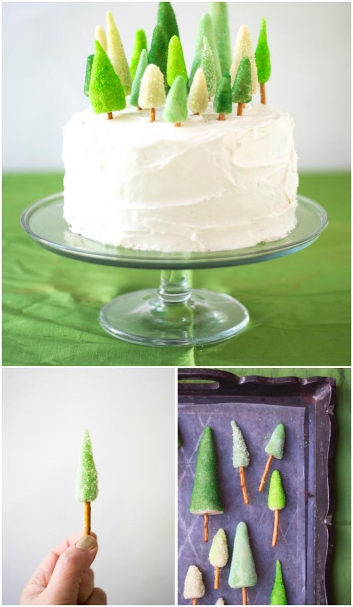 comment réaliser des arbres en pâte d'amandes pour la décoration de son gateau d'anniversaire forêt