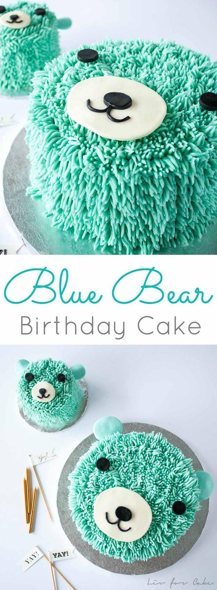 jolie décoration réalisée avec glaçage tuquoise et de la pâte à sucre, gâteau d anniversaire petit ours mignon