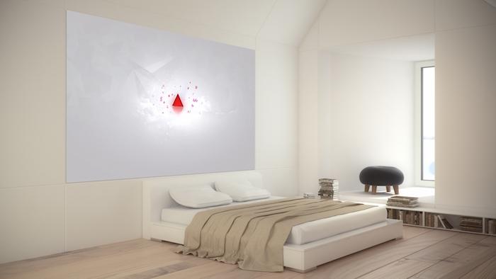 modele chambre parentale moderne minimaliste, décoration design pour chambre adultes, lit bas avec sommier blanc