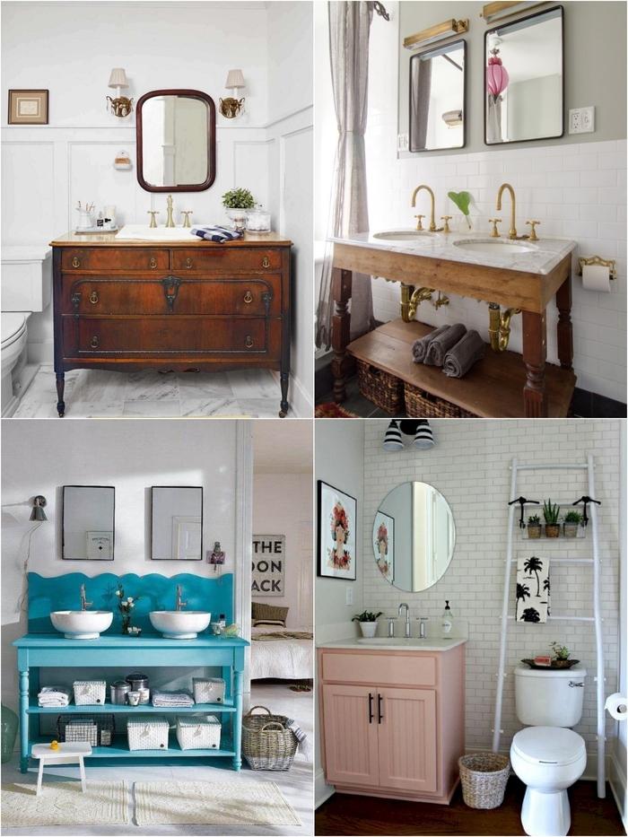 projet relooking salle de bain avec un petit budget, mille idées pour fabriquer un meuble de salle de bain à partir de mobilier récup