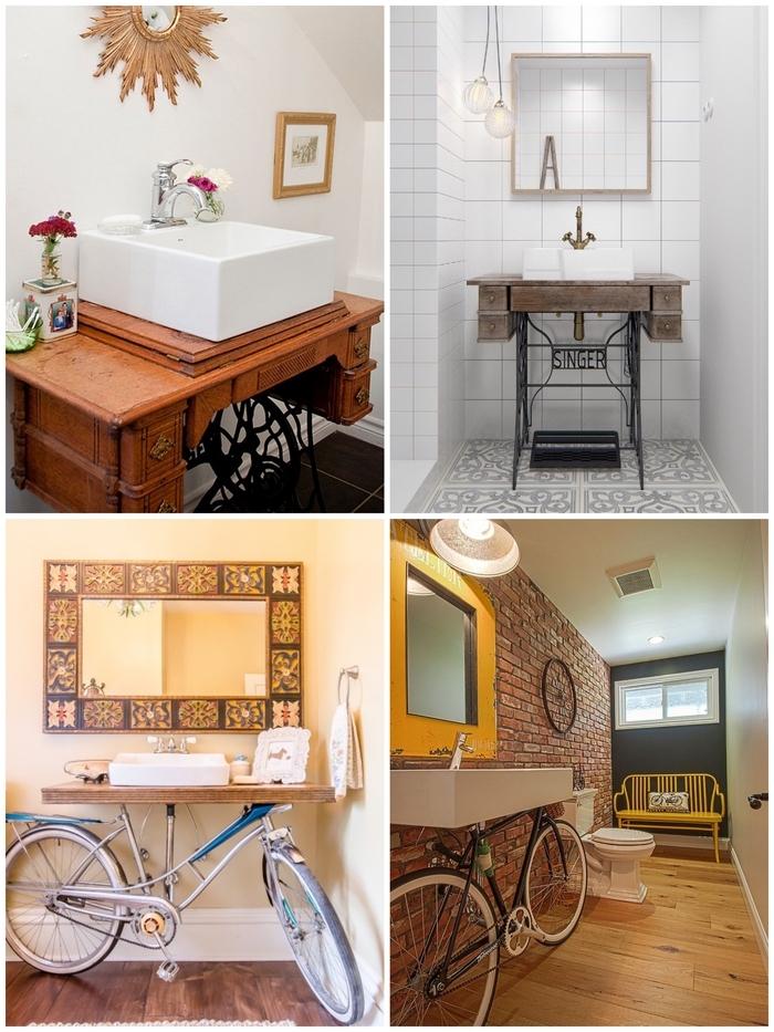 meuble salle de bain original réalisé à partir d'une ancienne table de machine à coudre ou un vélo récupéré pour une touc